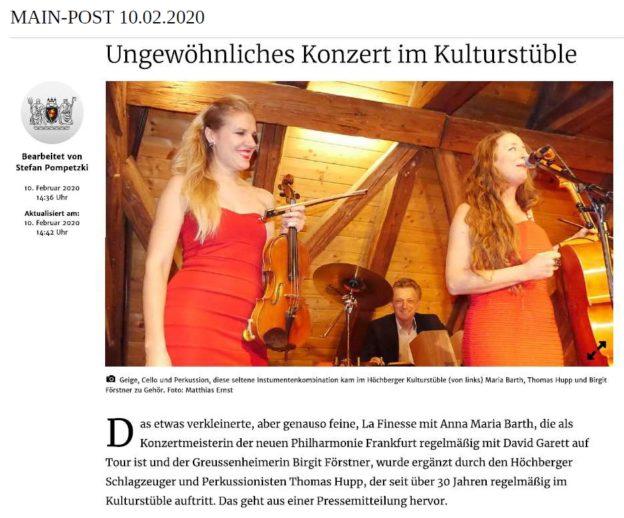 La Finesse im Kulturstüble Höchberg
