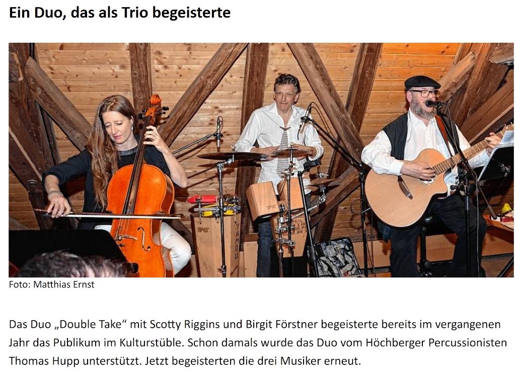 Pressebericht Ein Duo, das als Trio begeisterte - Double Take im Kulturstüble Höchberg