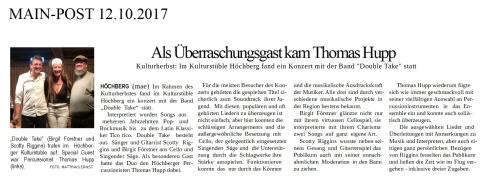 Pressebericht Als Überraschungsgast kam Thomas Hupp - Double Take im Kulturstüble Höchberg